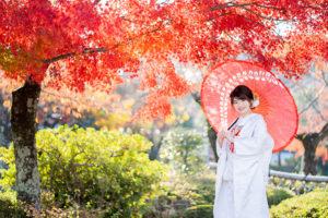 紅葉と白無垢と和傘