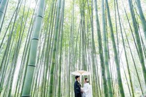 竹林で和装前撮り