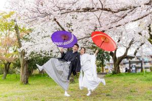 桜の和装前撮り