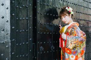 大阪城公園で和装前撮り