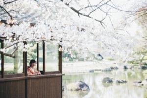 慶沢園の四阿から花見