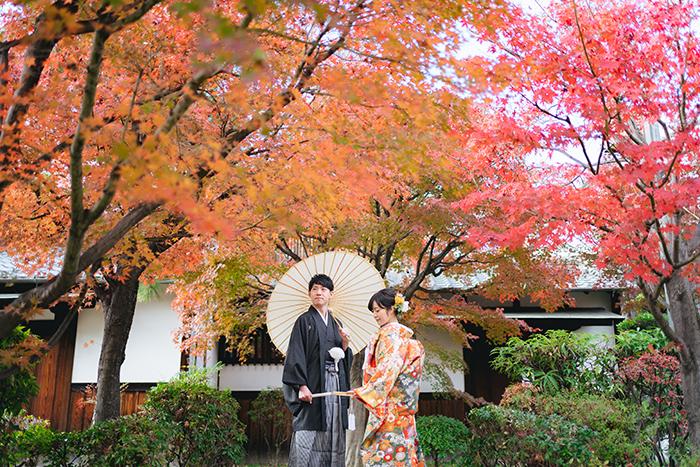 紅葉の綺麗なお屋敷で前撮り