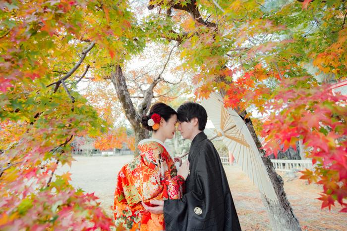 紅葉のグラデーションの中で色打掛を着た和装前撮り